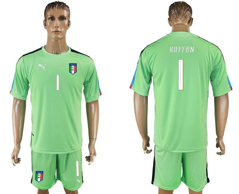 Italy 1 BUFFON Green UEFA Euro 2016 Goalkeeper Soccer Jersey
