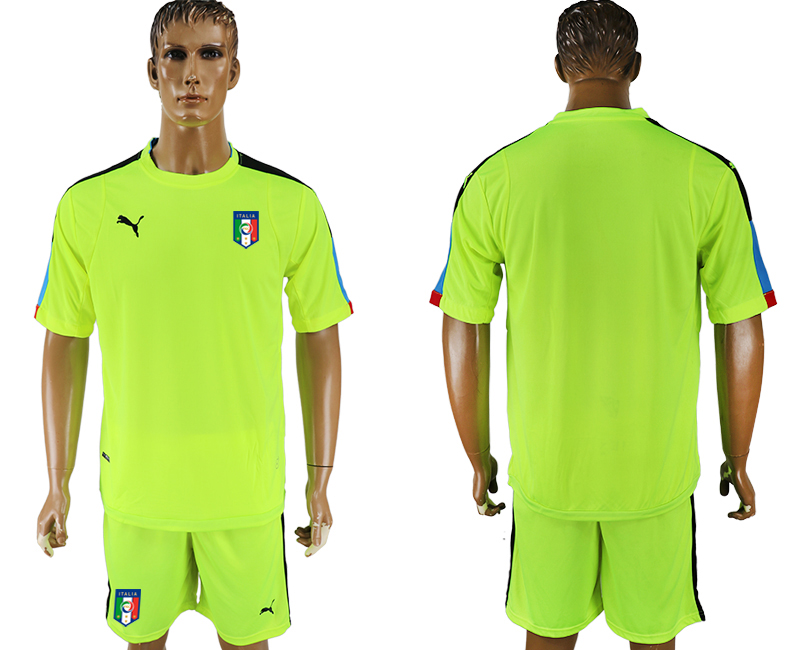 Italy Fluorescent Green UEFA Euro 2016 Goalkeeper Soccer Jersey