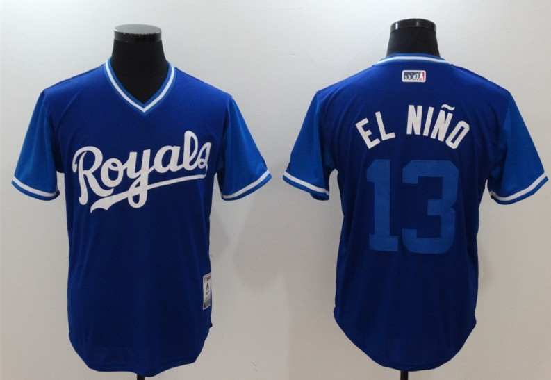 Royals 13 Salvador Perez El Nino Majestic Royal 2017 Players Weekend Jersey