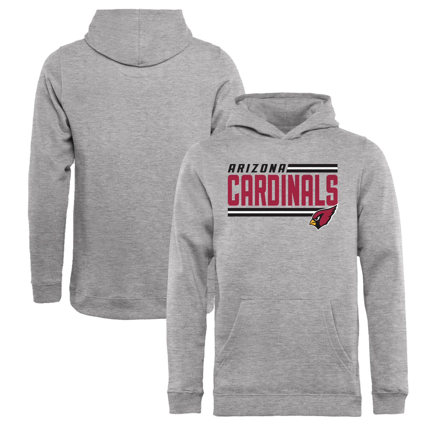 Youth Arizona Cardinals NFL Pro Line by Fanatics Branded Ash Iconic Collection On Side Stripe Pullover Hoodie