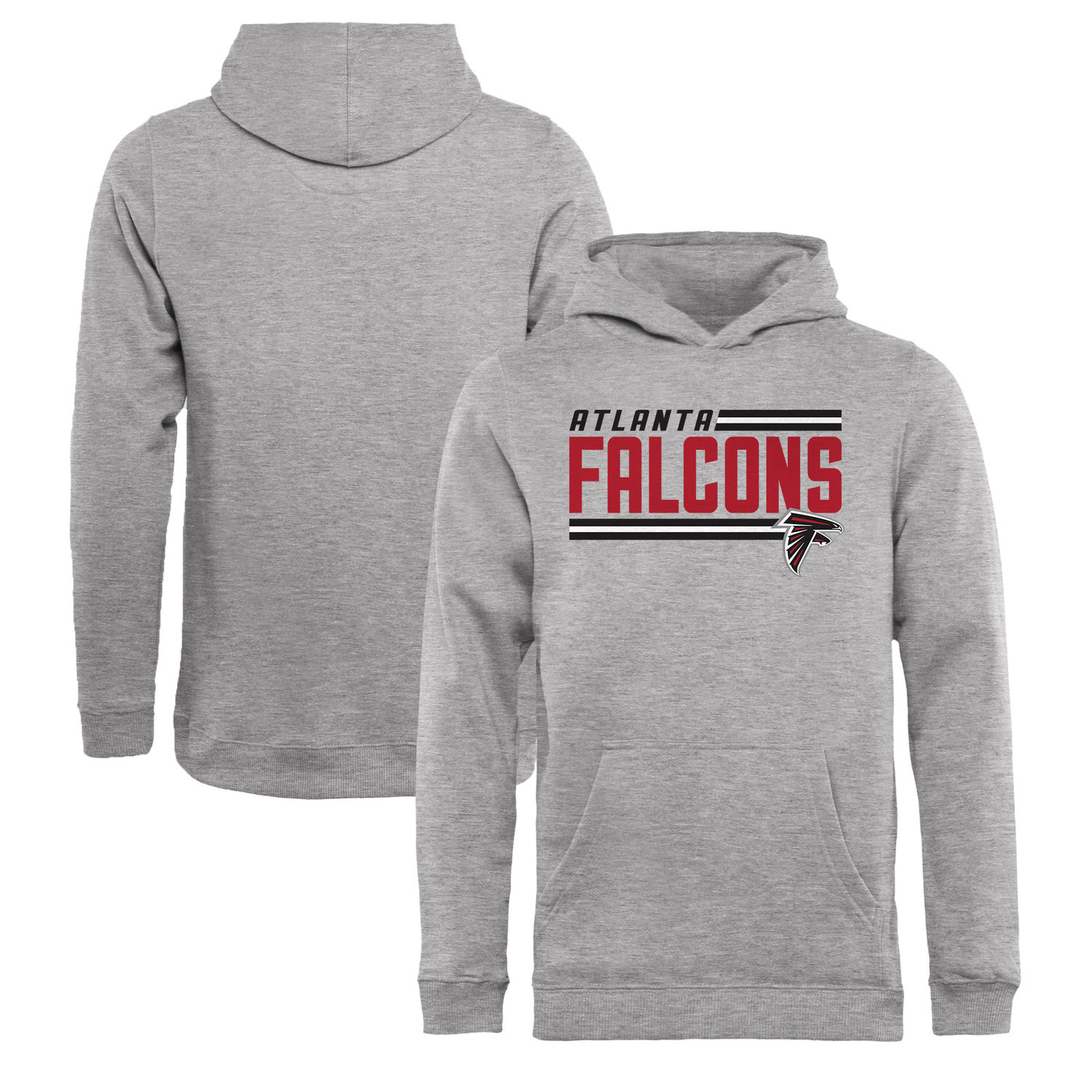 Youth Atlanta Falcons NFL Pro Line by Fanatics Branded Ash Iconic Collection On Side Stripe Pullover Hoodie