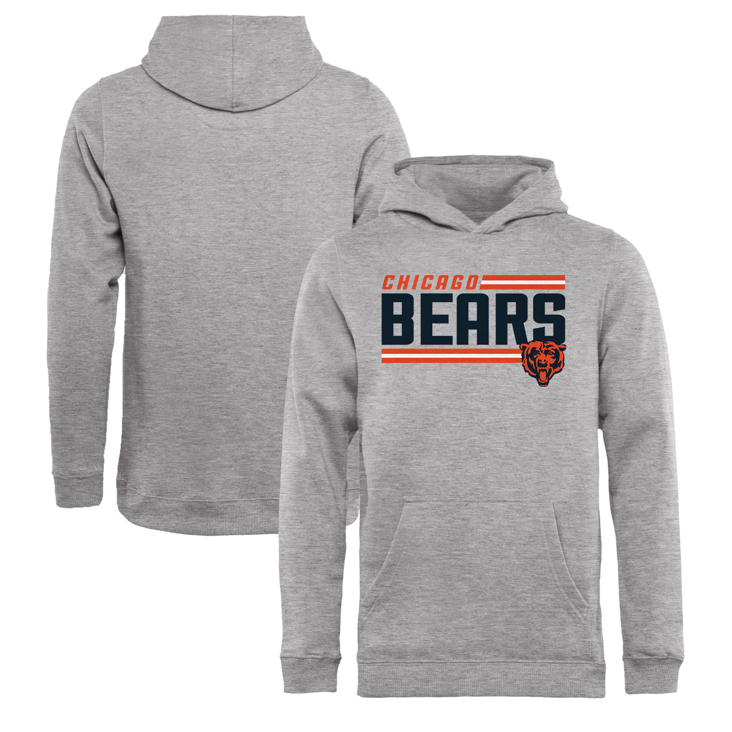 Youth Chicago Bears NFL Pro Line by Fanatics Branded Ash Iconic Collection On Side Stripe Pullover Hoodie