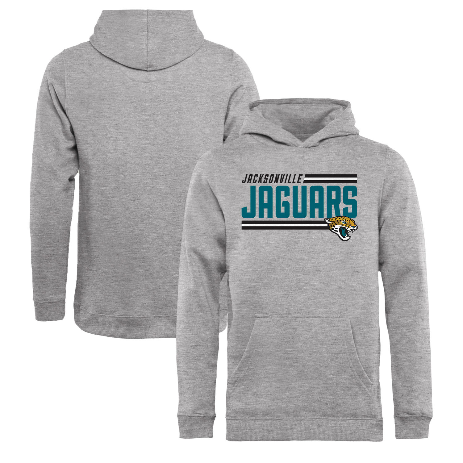 Youth Jacksonville Jaguars NFL Pro Line by Fanatics Branded Ash Iconic Collection On Side Stripe Pullover Hoodie