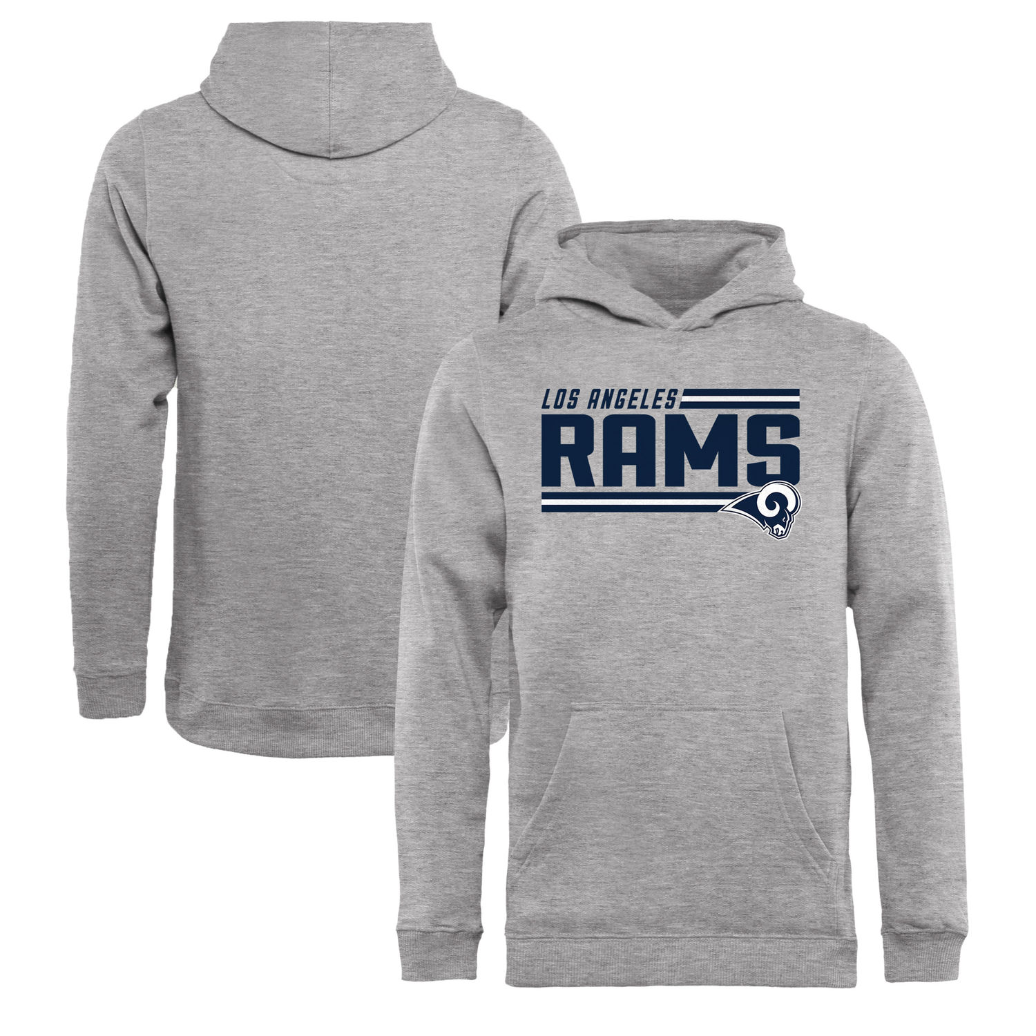 Youth Los Angeles Rams NFL Pro Line by Fanatics Branded Ash Iconic Collection On Side Stripe Pullover Hoodie