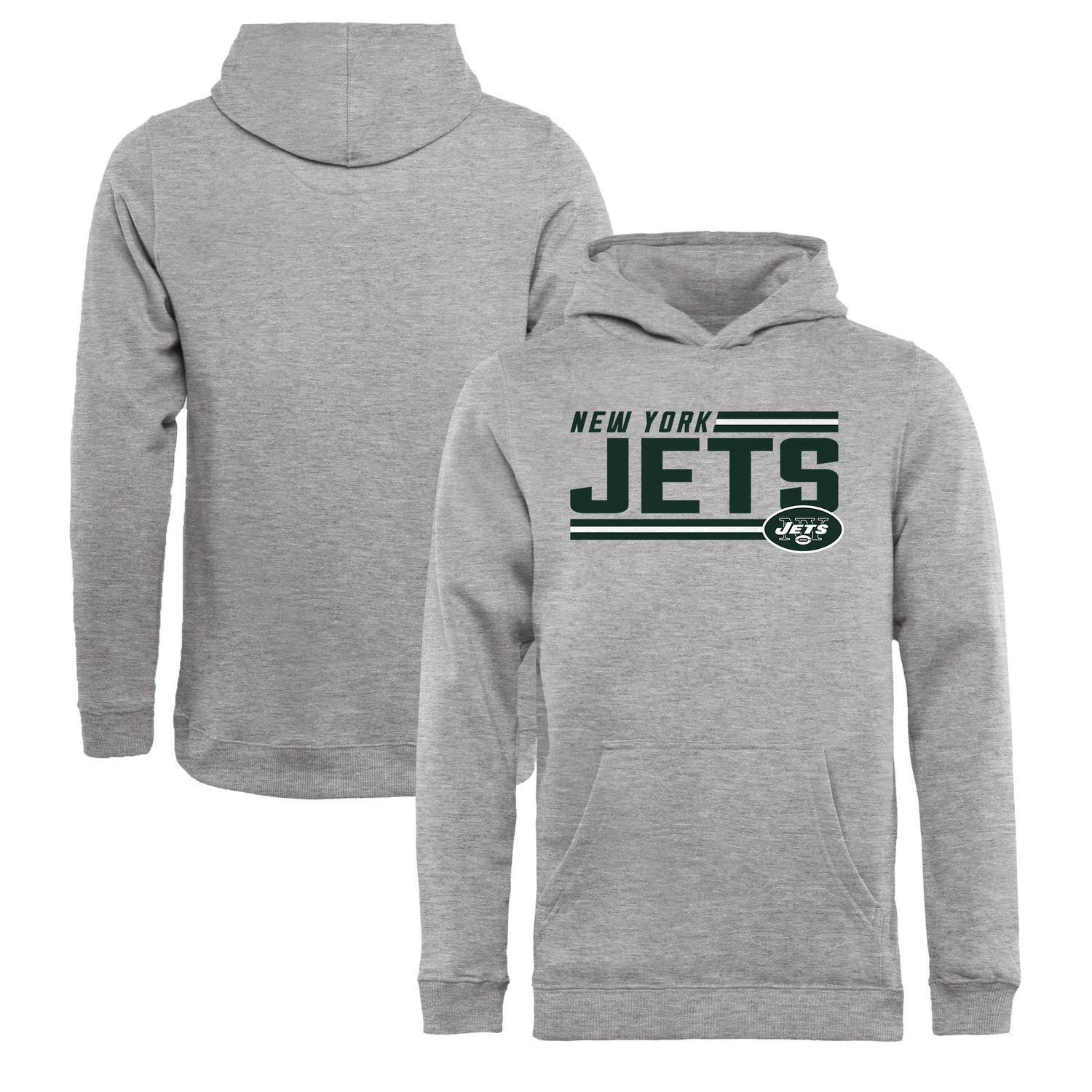 Youth New York Jets NFL Pro Line by Fanatics Branded Ash Iconic Collection On Side Stripe Pullover Hoodie