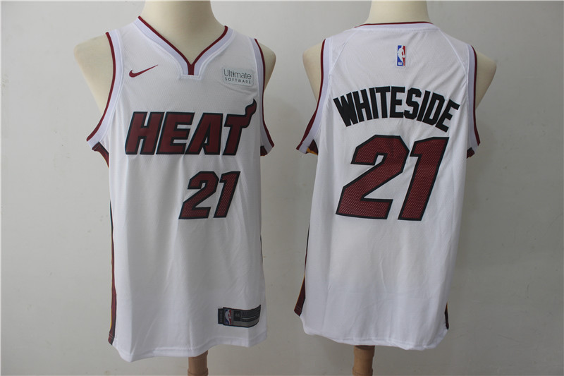 Heat 21 Hassan Whiteside White Nike Authentic Jersey