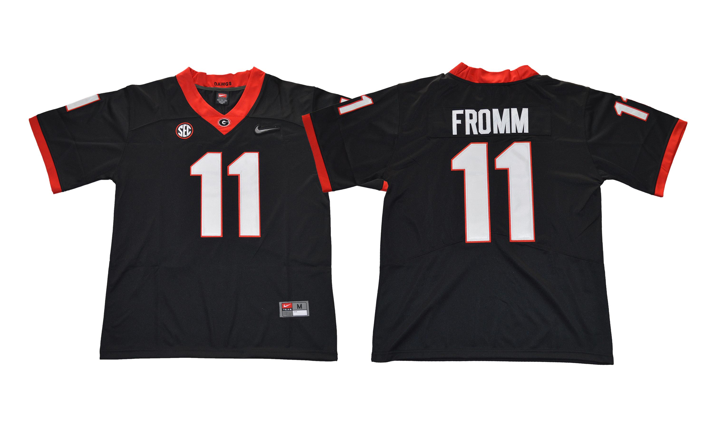Georgia Bulldogs 11 Jake Fromm Black With Diamond Logo College Football Jersey