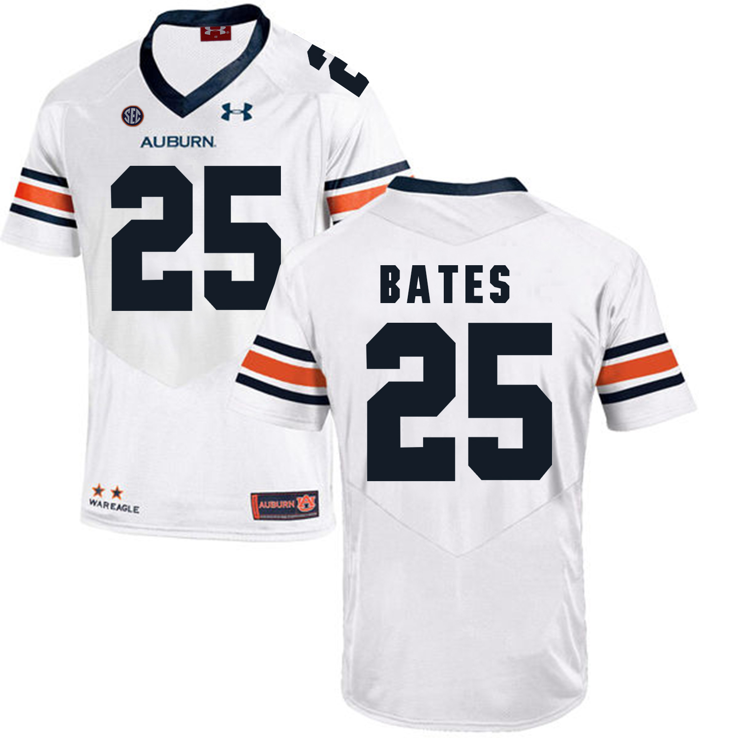 Auburn Tigers 25 Daren Bates White College Football Jersey