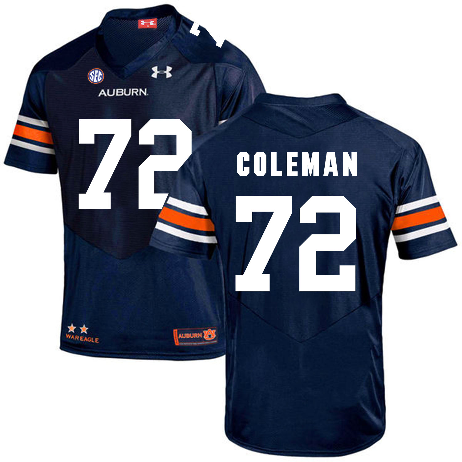Auburn Tigers 72 Shon Coleman Navy College Football Jersey