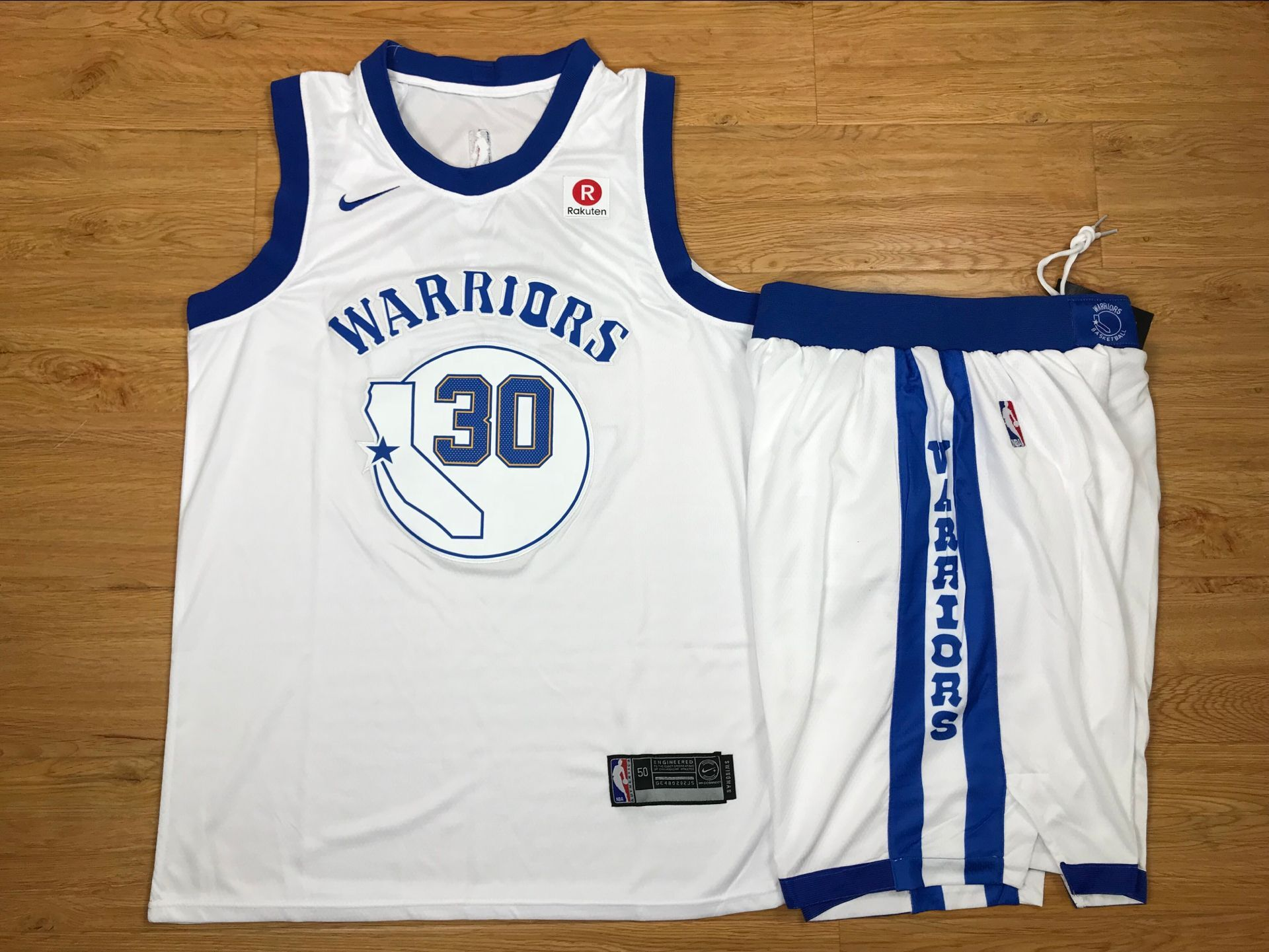 Warriors 30 Stephen Curry White Fashion Current Player Hardwood Classics Nike Authentic Jersey(With Shorts)