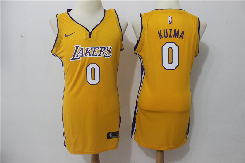 Lakers 0 Kyle Kuzma Yellow Women Nike Swingman Jersey