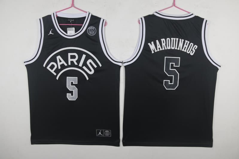 Paris Saint-Germain 5 Marquinhos Black Jordan Fashion Jersey
