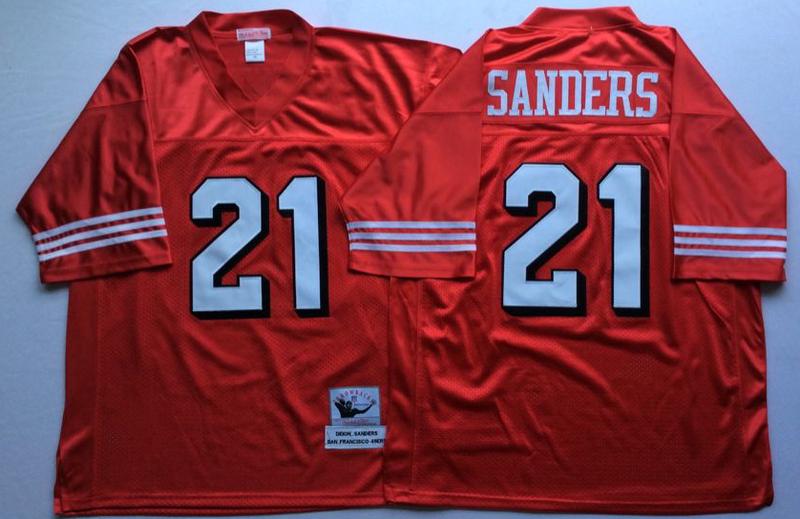 49ers 21 Deion Sanders Red Vintage M&N Jersey