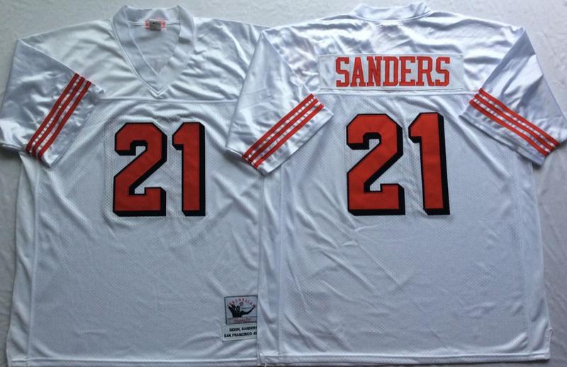 49ers 21 Deion Sanders White Vintage M&N Jersey