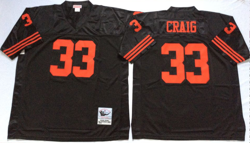 49ers 33 Roger Craig Black M&N Throwback Jersey