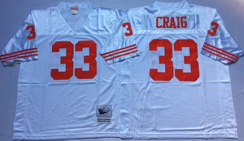 49ers 33 Roger Craig White M&N Throwback Jersey