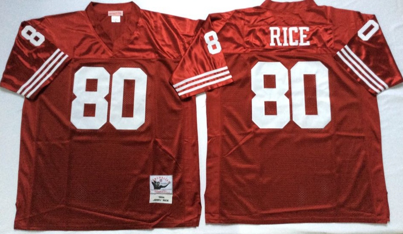 49ers 80 Jerry Rice Red M&N Throwback Jersey