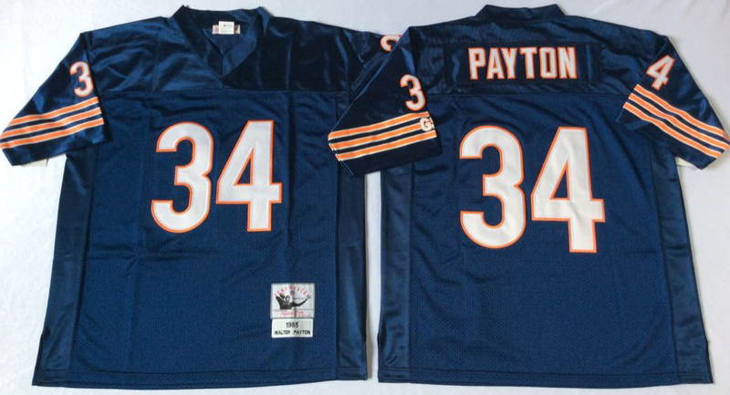 Bears 34 Walter Payton Navy M&N 1985 Throwback Jersey