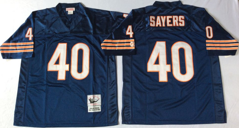 Bears 40 Gale Sayers Navy M&N 1985 Throwback Jersey