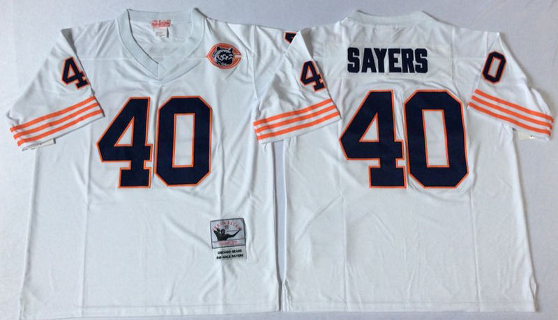 Bears 40 Gale Sayers White M&N Throwback Jersey