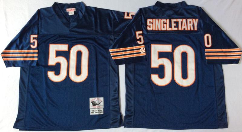 Bears 50 Mike Singletary Navy M&N Throwback Jersey