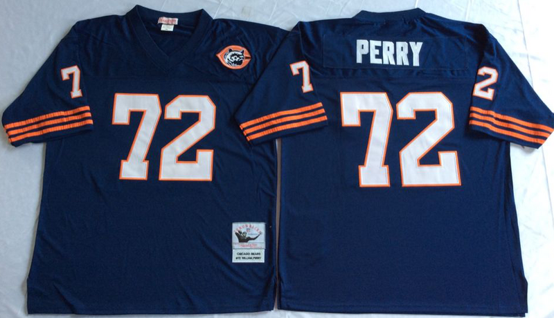 Bears 72 William Perry Navy M&N Throwback Jersey