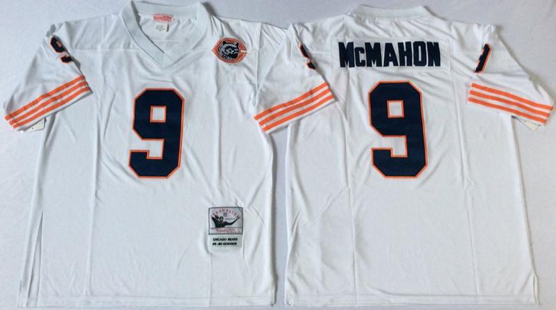 Bears 9 Jim McMahon White M&N Throwback Jersey