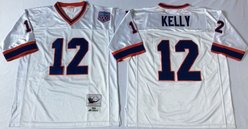 Bills 12 Jim Kelly White M&N Throwback Jersey