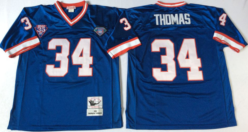 Bills 34 Thurman Thomas Blue M&N Throwback Jersey