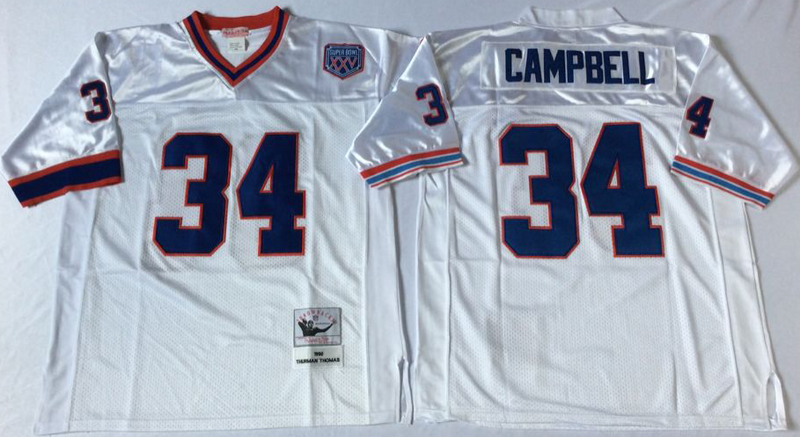 Bills 34 Thurman Thomas White M&N Throwback Jersey