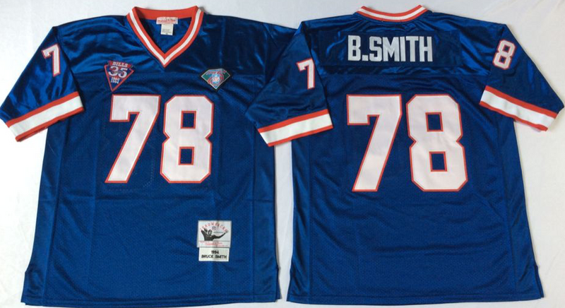 Bills 78 Bruce Smith Blue M&N Throwback Jersey