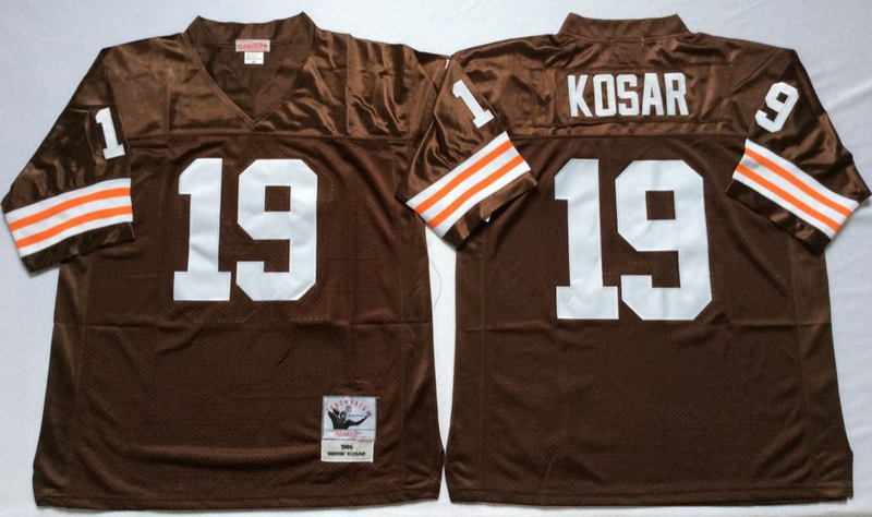 Browns 19 Bernie Kosar Brown M&N Throwback Jersey