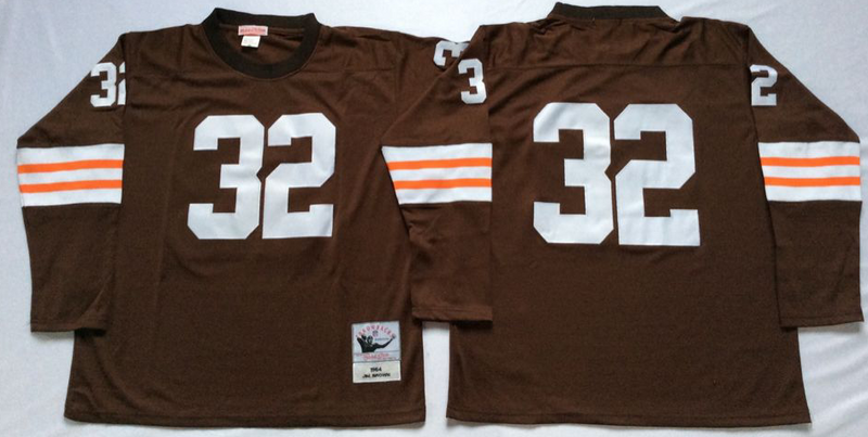 Browns 32 Jim Brown Brown Long Sleeve M&N Throwback Jersey
