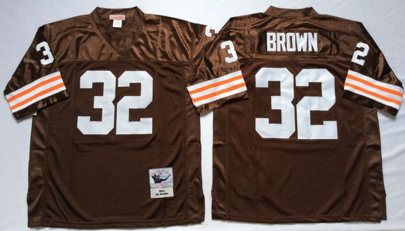 Browns 32 Jim Brown Brown M&N Throwback Jersey