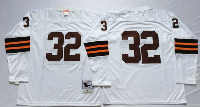 Browns 32 Jim Brown White Long Sleeve M&N Throwback Jersey