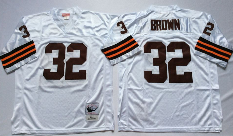 Browns 32 Jim Brown White M&N Throwback Jersey