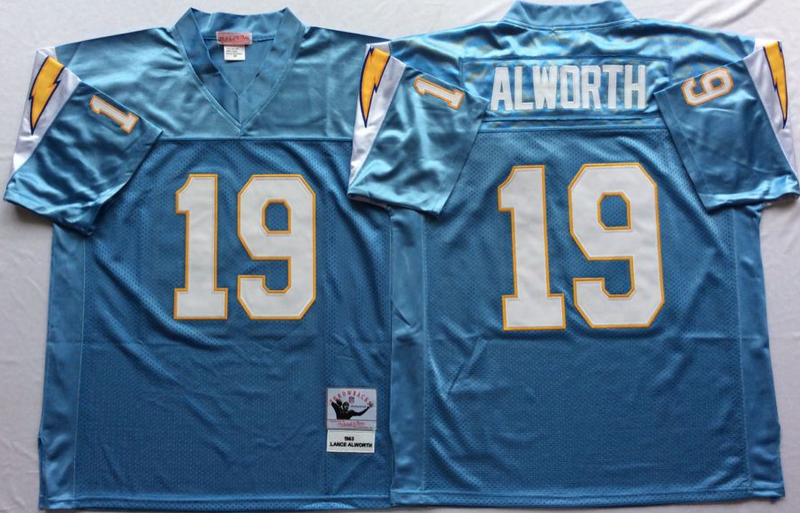Chargers 19 Lance Alworth Light Blue M&N Throwback Jersey