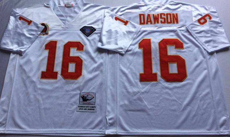 Chiefs 16 Lake Dawson White M&N Throwback Jersey