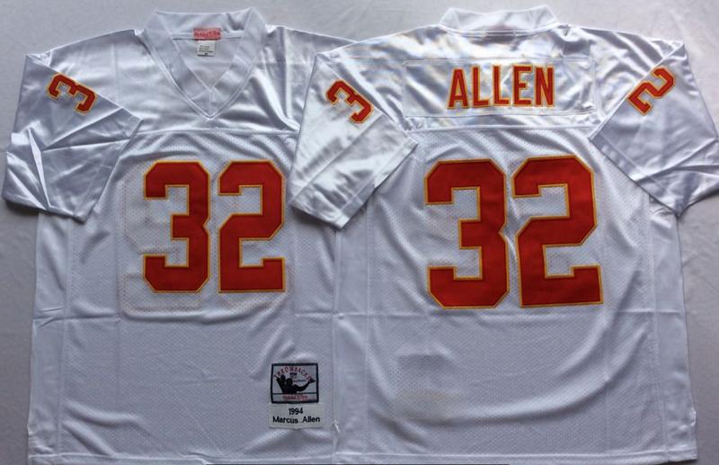 Chiefs 32 Marcus Allen White M&N Throwback Jersey