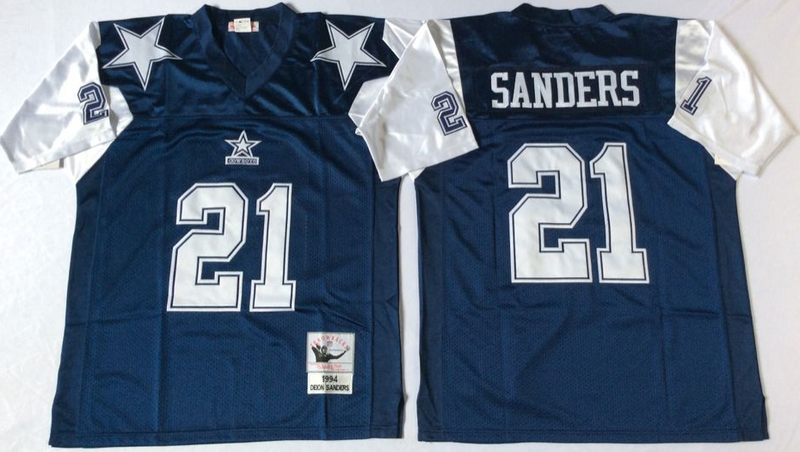 Cowboys 21 Deion Sanders Navy Thanksgiving M&N Throwback Jersey
