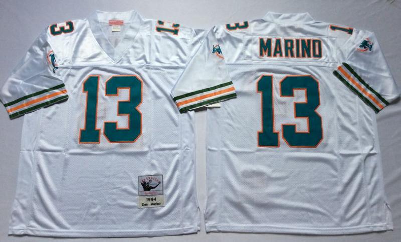 Dolphins 13 Dan Marino White M&N Throwback Jersey