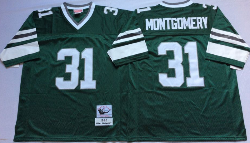 Eagles 31 Wilbert Montgomery Green M&N Throwback Jersey