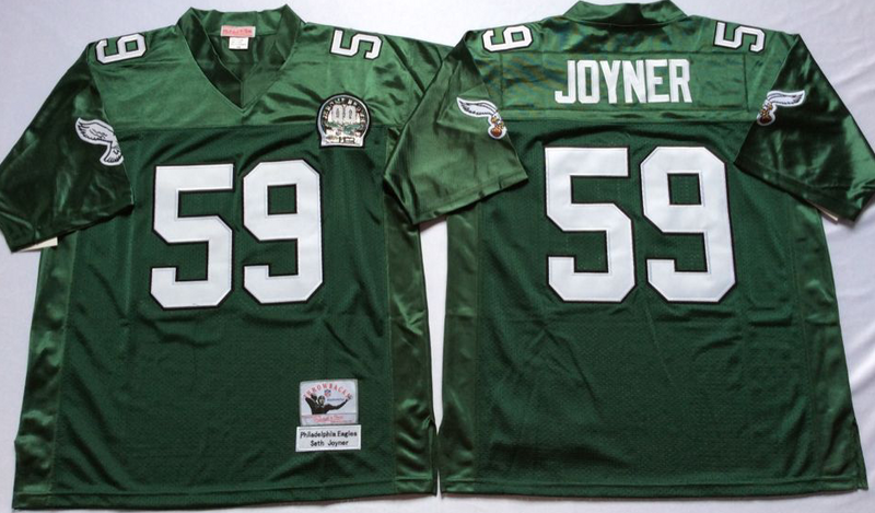 Eagles 59 Seth Joyner Green M&N Throwback Jersey