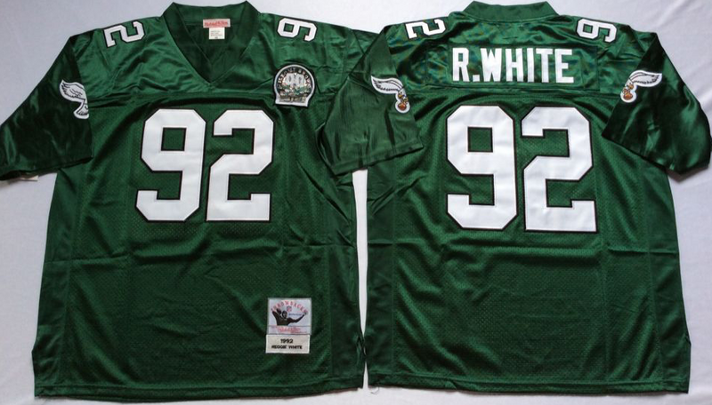 Eagles 92 Reggie White Green M&N Throwback Jersey