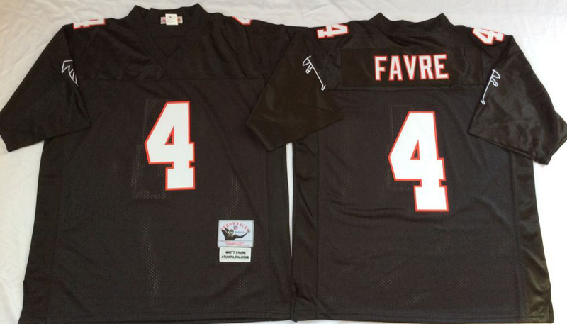 Falcons 4 Brett Favre Black M&N Throwback Jersey