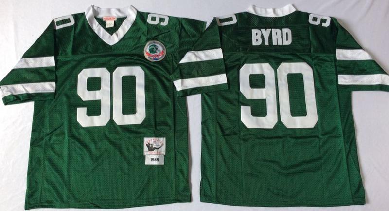 Jets 90 Dennis Byrd Green M&N Throwback Jersey