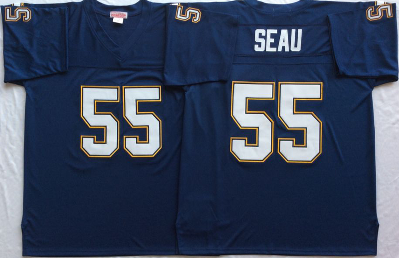 Chargers 55 Junior Seau Navy M&N Throwback Jersey