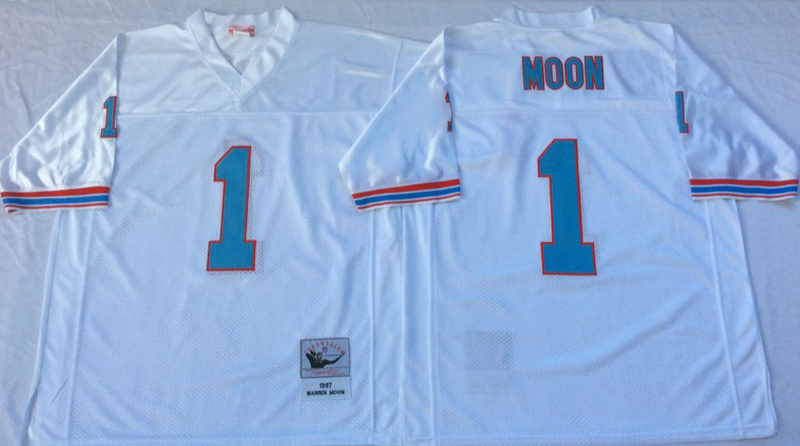 Oilers 1 Moon White M&N Throwback Jersey