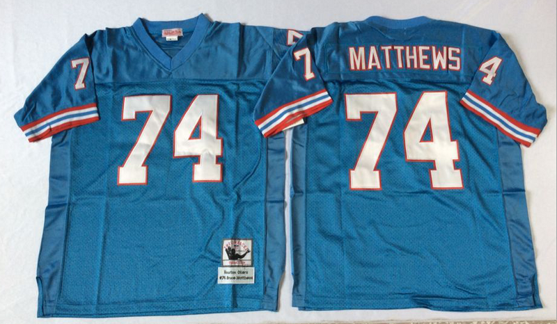 Oilers 74 Bruce Matthews Blue M&N Throwback Jersey