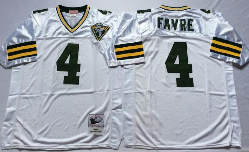 Packers 4 Brett Favre White M&N Throwback Jersey